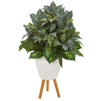 37 Mixed Greens Artificial Plant in White Planter with Stand - SKU #P1015