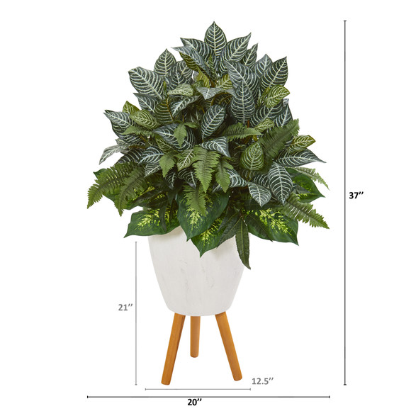37 Mixed Greens Artificial Plant in White Planter with Stand - SKU #P1015 - 1