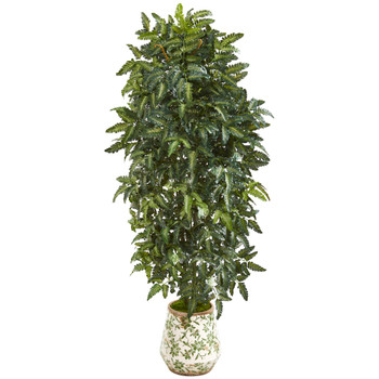 61 Bracken Fern Artificial Plant in Vintage Floral Planter - SKU #P1016