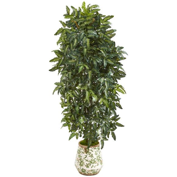 61 Bracken Fern Artificial Plant in Vintage Floral Planter - SKU #P1016