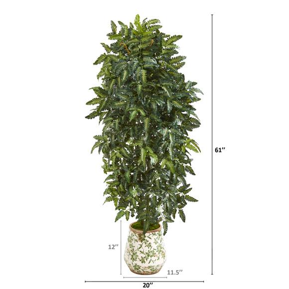 61 Bracken Fern Artificial Plant in Vintage Floral Planter - SKU #P1016 - 1