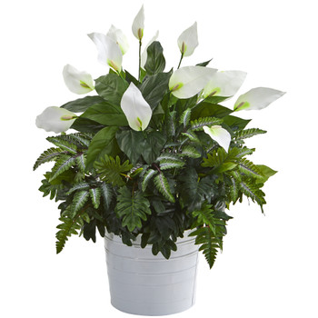30 Mixed Spathiphyllum Artificial Plant in White Tin Planter - SKU #P1017