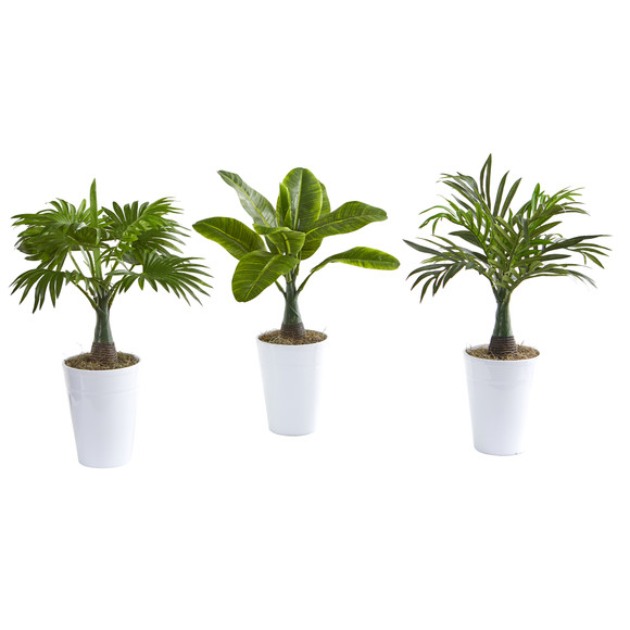 18 Assorted Mini Palm and Banana Artificial Plant in White Planter Set of 3 - SKU #P1018