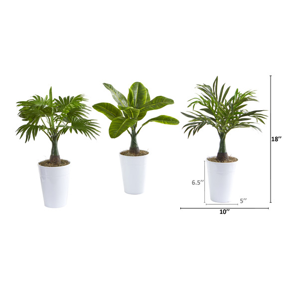 18 Assorted Mini Palm and Banana Artificial Plant in White Planter Set of 3 - SKU #P1018 - 1