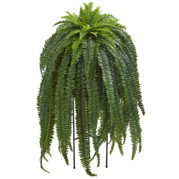 52 Boston Fern Artificial Plant in Black Stand Planter - SKU #P1022