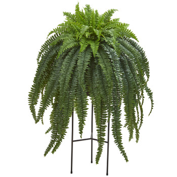 44 Boston Fern Artificial Plant in Stand Black Planter - SKU #P1024