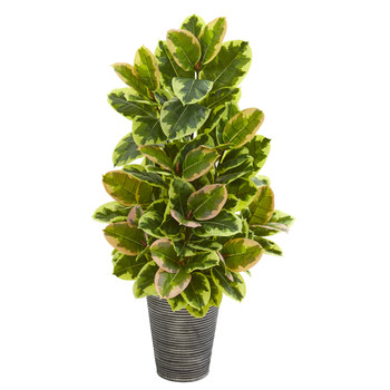 42 Rubber Leaf Artificial Plant in Tin Planter with Black Pattern Real Touch - SKU #P1025