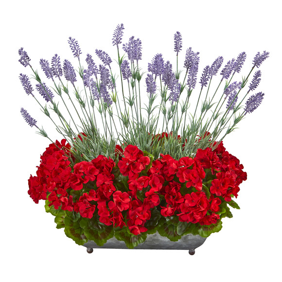 20 Geranium and Lavender Artificial Plant in in Metal Tray - SKU #P1026-RD