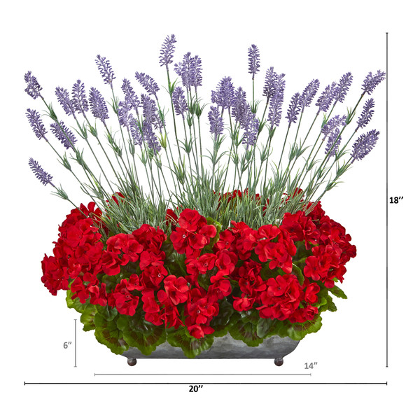 20 Geranium and Lavender Artificial Plant in in Metal Tray - SKU #P1026-RD - 1