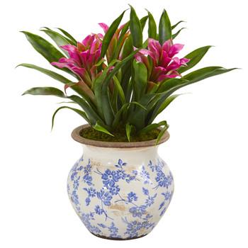 13 Bromeliad Artificial Plant in Floral Planter - SKU #P1028-PP