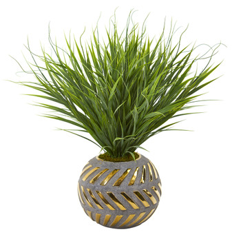 21 Vanilla Grass Artificial Plant in Stoneware Planter with Gold Trimming - SKU #P1029
