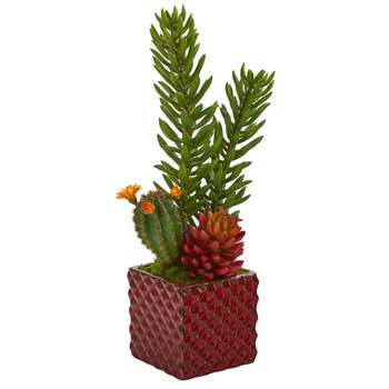 20 Mixed Succulent Artificial Plant in Red Ceramic Vase - SKU #P1030