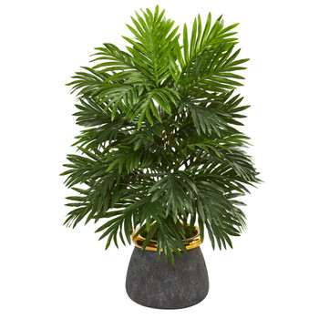 29 Areca Palm Artificial Plant in Planter with Brass Trimming - SKU #P1032
