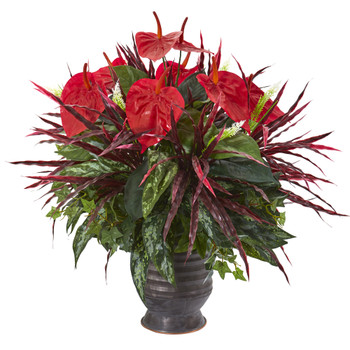 24 Mixed Anthurium Artificial Plant in Ribbed Metal Planter - SKU #P1035