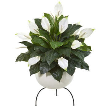 45 Spathiphyllum Artificial Plant in White Planter with Metal Stand - SKU #P1036