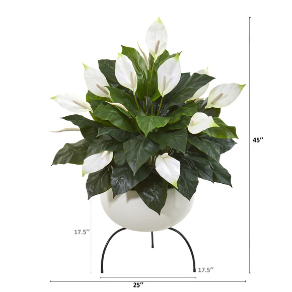 45 Spathiphyllum Artificial Plant in White Planter with Metal Stand - SKU #P1036 - 1