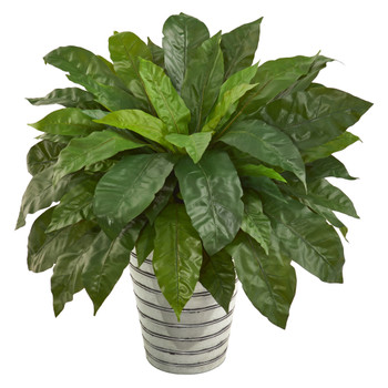 33 Birds Nest Fern Artificial Plant in Tin Bucket - SKU #P1037