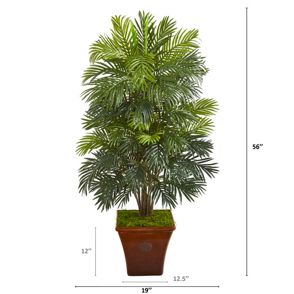 56 Areca Palm Artificial Plant in Brown Planter - SKU #P1040 - 1