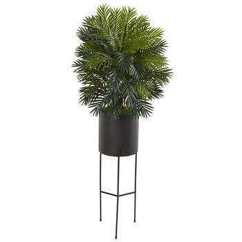 66 Areca Palm Artificial Plant in Stand Black Planter - SKU #P1044