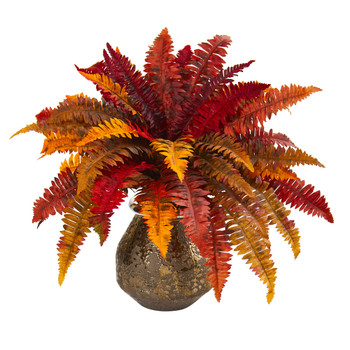 20 Autumn Boston Fern Artificial Plant in Planter - SKU #P1045