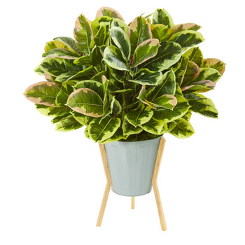 28 Rubber Leaf Artificial Plant in Green Planter with Stand Real Touch - SKU #P1048