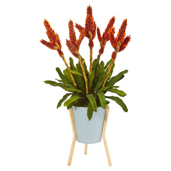 35 Tropical Bromeliad Artificial Plant in Green Planter with Stand - SKU #P1050