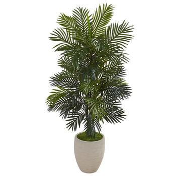 53 Areca Palm Artificial Plant in Sand Colored Planter - SKU #P1052