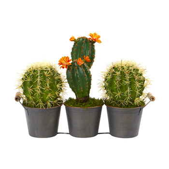 14 Cactus Artificial Plant in Triple Metal Planter - SKU #P1055