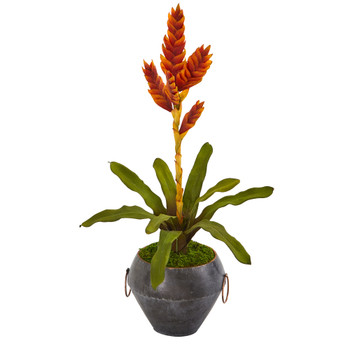 25 Tropical Bromeliad Artificial Plant in Metal Bowl - SKU #P1056