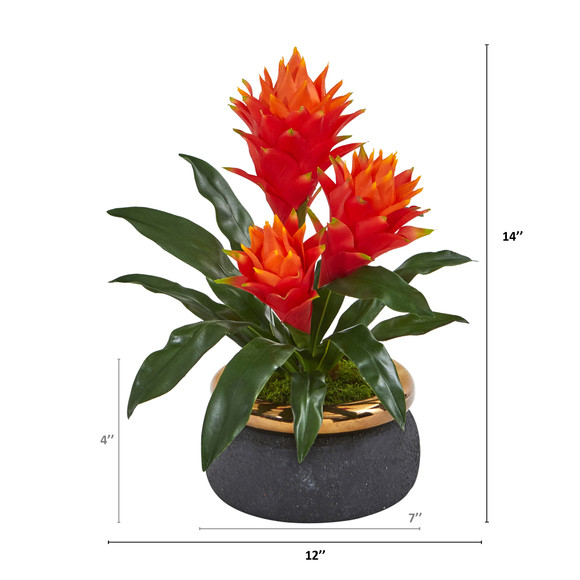 14 Triple Bromeliad Artificial Plant in Stoneware Planter - SKU #P1058 - 1