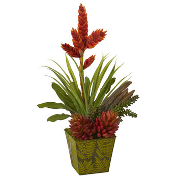 24 Succulent and Bromeliad Artificial Plant in Green Planter - SKU #P1059