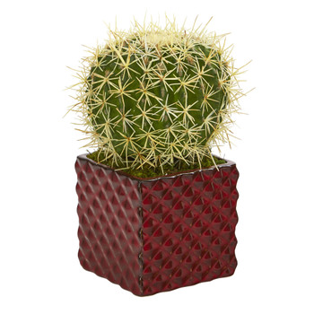 12 Cactus Succulent Artificial Plant in Red Ceramic Vase - SKU #P1060