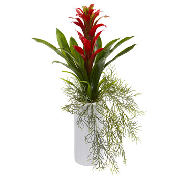 18 Bromeliad Artificial Plant in White Planter - SKU #P1061