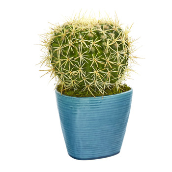 11 Cactus Succulent Artificial Plant in Blue Planter - SKU #P1064