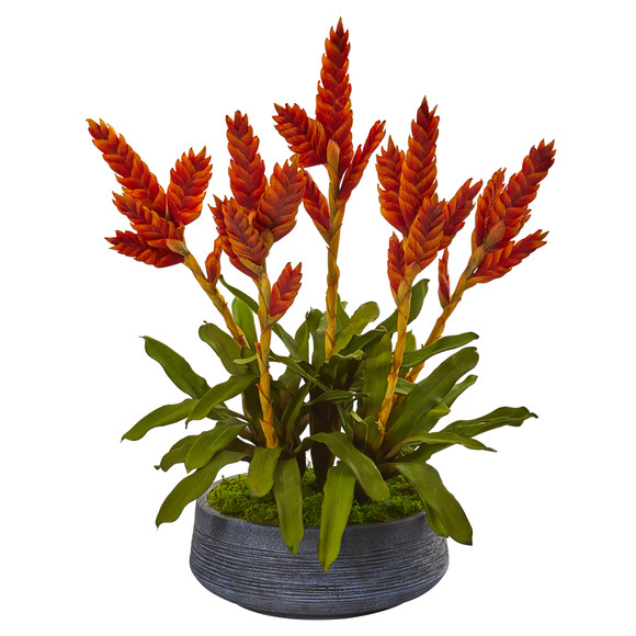27 Tropical Bromeliad Artificial Plant in Decorative Bowl - SKU #P1067
