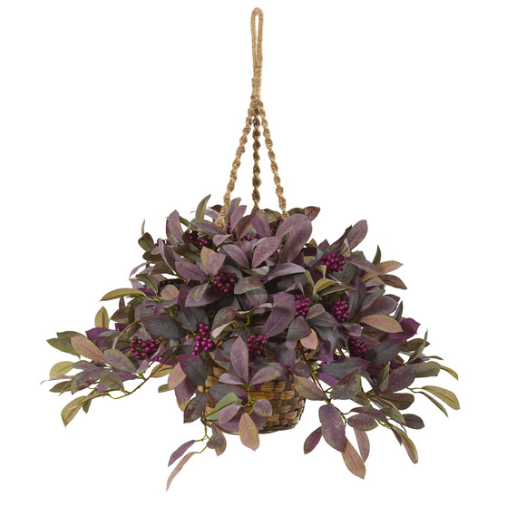 28 Fall Laurel Leaf with Berries Artificial Plant in Hanging Basket - SKU #P1068