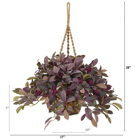 28 Fall Laurel Leaf with Berries Artificial Plant in Hanging Basket - SKU #P1068 - 1