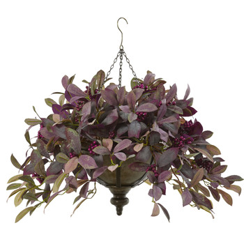 27 Fall Laurel Leaf with Berries Artificial Plant in Metal Hanging Bowl - SKU #P1070
