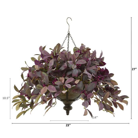 27 Fall Laurel Leaf with Berries Artificial Plant in Metal Hanging Bowl - SKU #P1070 - 1