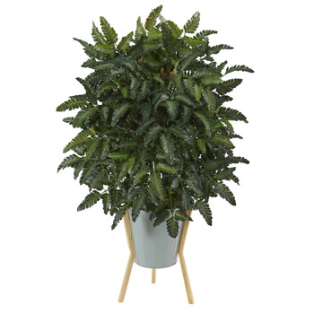 33 Bracken Fern Artificial Plant in Green Planter with Stand - SKU #P1071