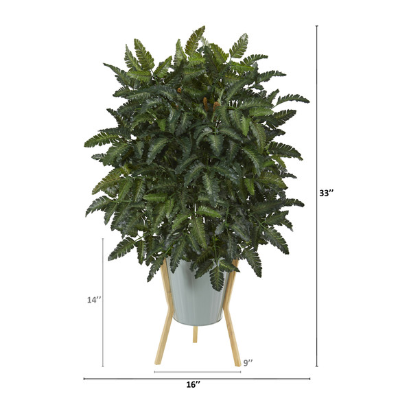 33 Bracken Fern Artificial Plant in Green Planter with Stand - SKU #P1071 - 1