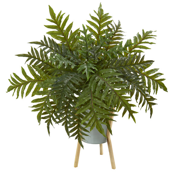 26 Hares Foot Fern Artificial Plant in Green Planter with Stand Real Touch - SKU #P1074