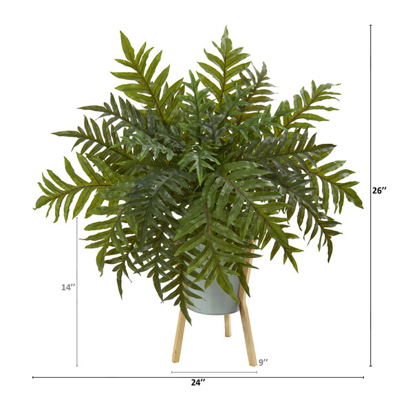 26 Hares Foot Fern Artificial Plant in Green Planter with Stand Real Touch - SKU #P1074 - 1