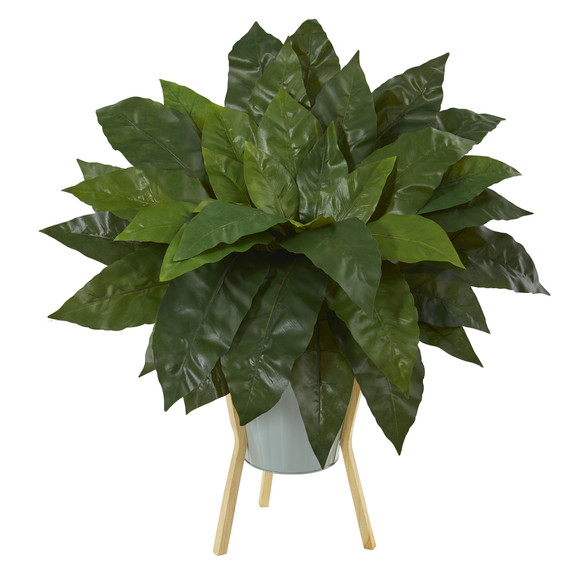 25 Birds Nest Fern Artificial Plant in Green Planter with Stand - SKU #P1075