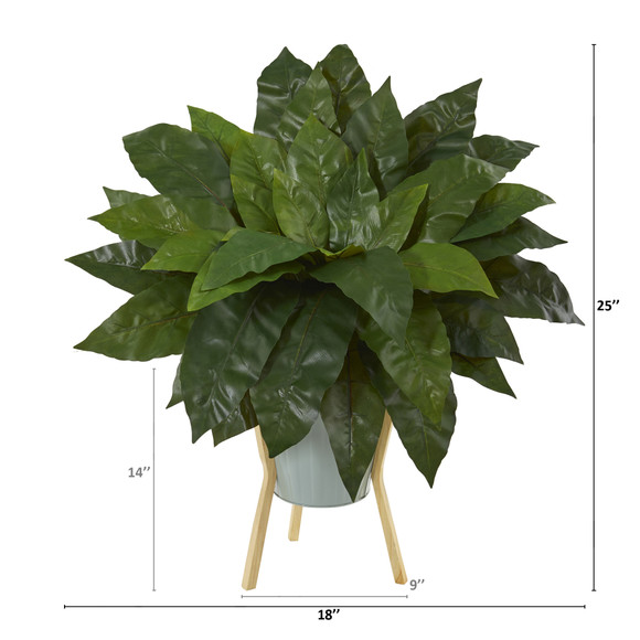 25 Birds Nest Fern Artificial Plant in Green Planter with Stand - SKU #P1075 - 1