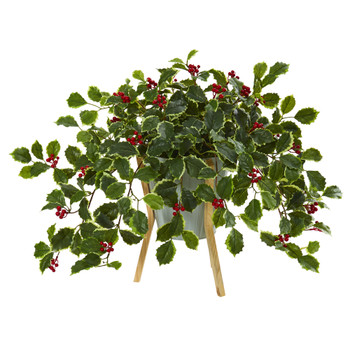 22 Variegated Holly Berry Artificial Plant in Green Planter with Stand Real Touch - SKU #P1077