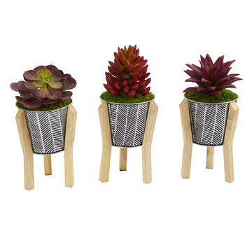 11 Mixed Succulent Artificial Plant in Tin Planter with Legs Set of 3 - SKU #P1079-S3