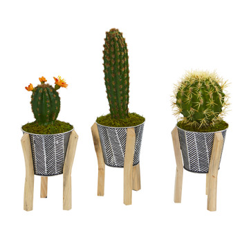 15 Mixed Cactus Artificial Plant in Tin Planter with Legs Set of 3 - SKU #P1080-S3