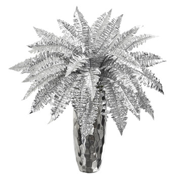 3 Metallic Silver Boston Fern Artificial Plant in Silver Planter - SKU #P1081