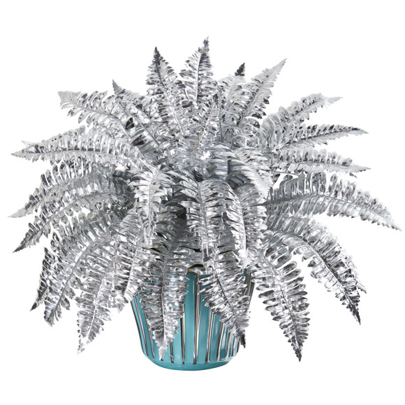 21 Metallic Silver Boston Fern Artificial Plant in Turquoise Planter with Silver Trimming - SKU #P1082